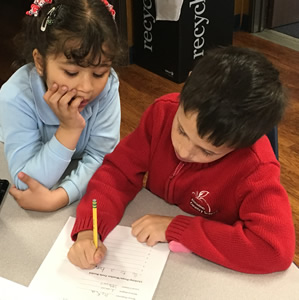 First Grade Students working in Pairs